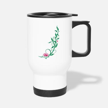 Lotus Blossom Bamboo with small blossoms and lotus flower. - Travel Mug