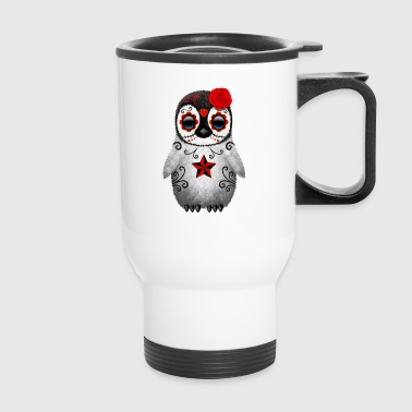 Red Sugar Skull Penguin - Travel Mug