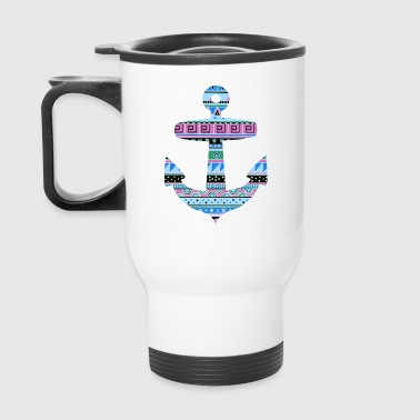 Anchor with Blue Tribal Pattern - Travel Mug