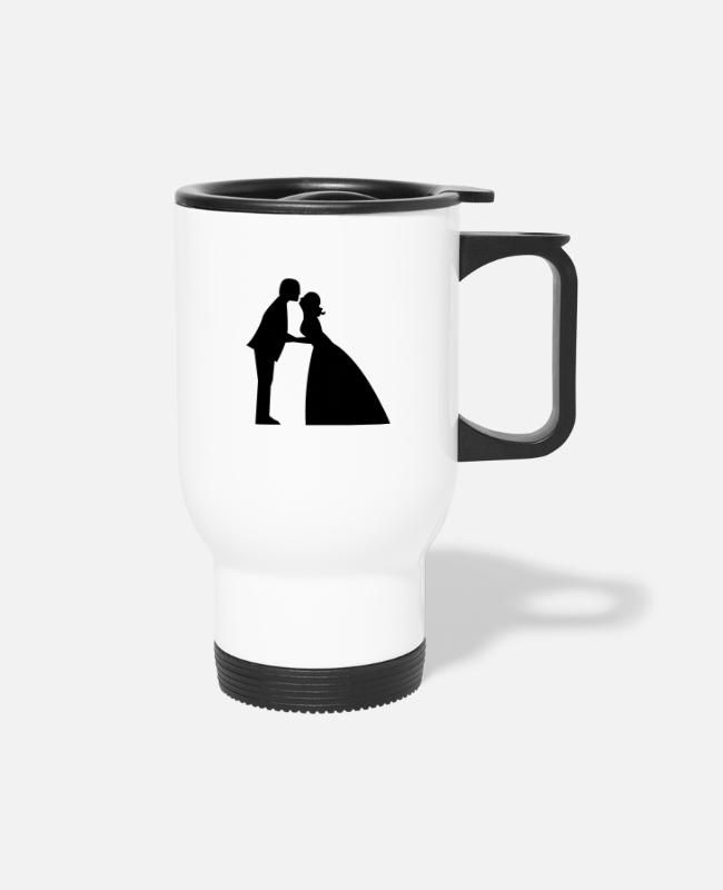 Bridal Mugs & Cups - Wedding kiss in bridal gown and suit - Travel Mug white