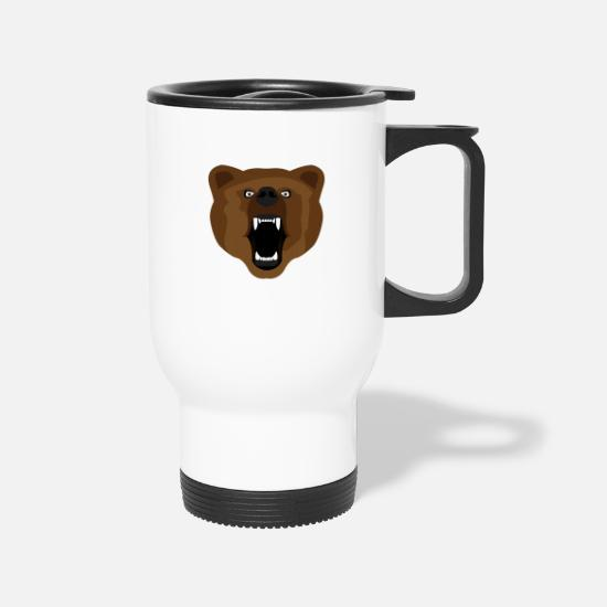 Animal Mugs & Drinkware - Brown Bear - Travel Mug white