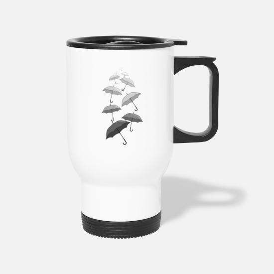Rain Cloud Mugs & Drinkware - Raining Black and White Umbrellas - Travel Mug white
