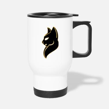 Silver Cat puma logo clipart silver cat side view - Travel Mug
