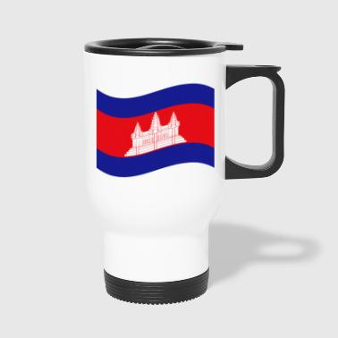 Cambodian / Khmer Flag Wave - Travel Mug
