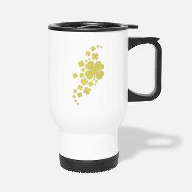 Look Charm Anniversary golden clovers lucky symbol st patrick's day - Travel Mug