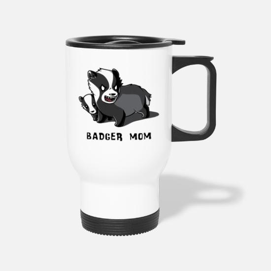 Badger Mugs & Drinkware - Badger Mom - Travel Mug white