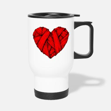 Heart Heart Knit, Broken Heart, Heart - Travel Mug