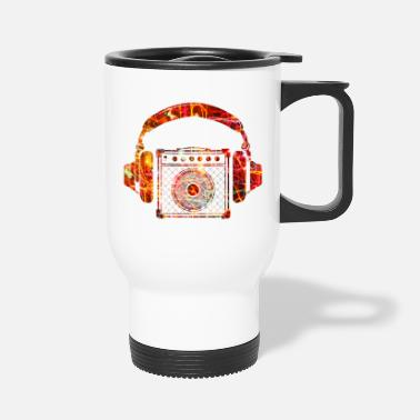 Dj &amp Amplifier with Headphones Music Design - Travel Mug