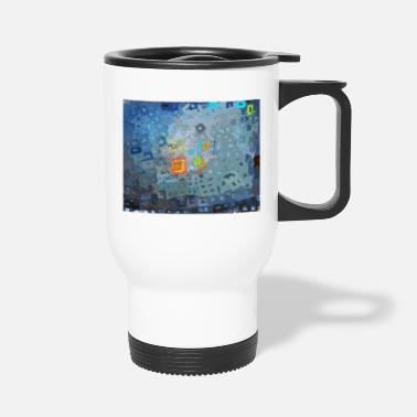 spreading blue square abstract - Travel Mug