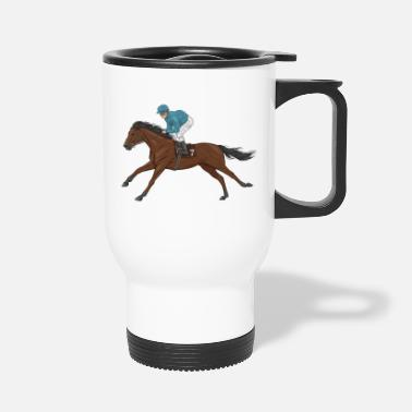 Gallop bay horse and jockey - Travel Mug
