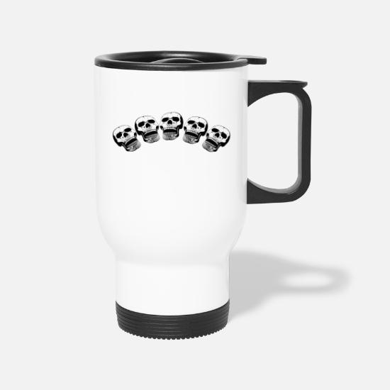 Grungy Mugs & Drinkware - five skulls - Travel Mug white