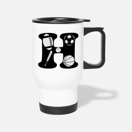 Lettering Mugs & Drinkware - initial H - Travel Mug white