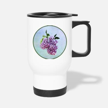 Lilac Delicate Pink Lilacs With Background - Travel Mug