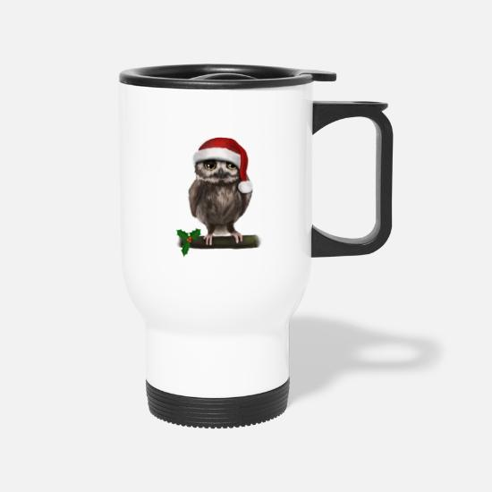 Owl Mugs & Drinkware - Christmas Weihnachten Uhu Eule Owl - Bored - Travel Mug white