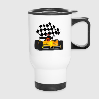 Yellow Race Car with Checkered Flag - Travel Mug