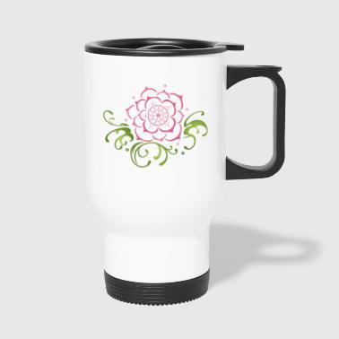 Yoga Lotus flower with filigree tribal. Yoga. - Travel Mug