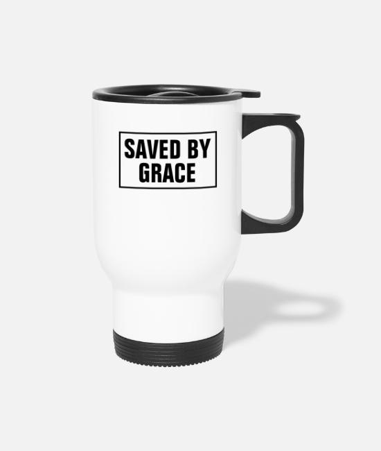 Word Mugs & Cups - Saved By Grace - Christian - Travel Mug white