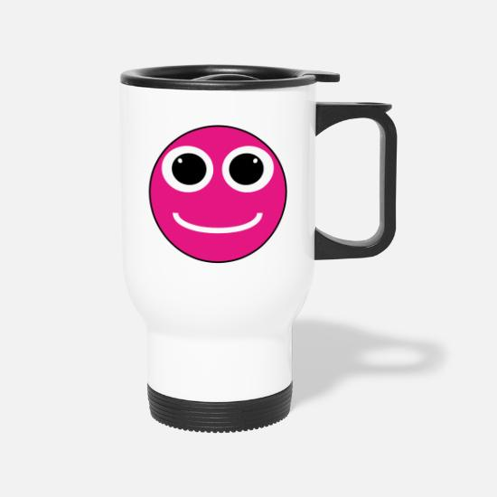 Big Mugs & Drinkware - Happy Face big eyes pink - Travel Mug white