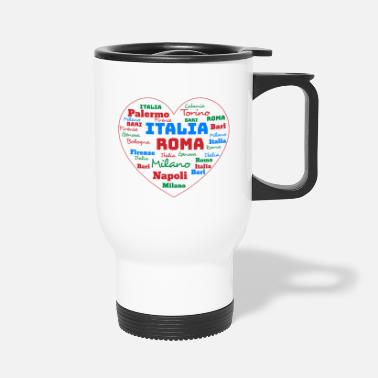 Cuore ITALY HEART ITALIA CUORE WORD CLOUD HOLIDAY (AZUR) - Travel Mug