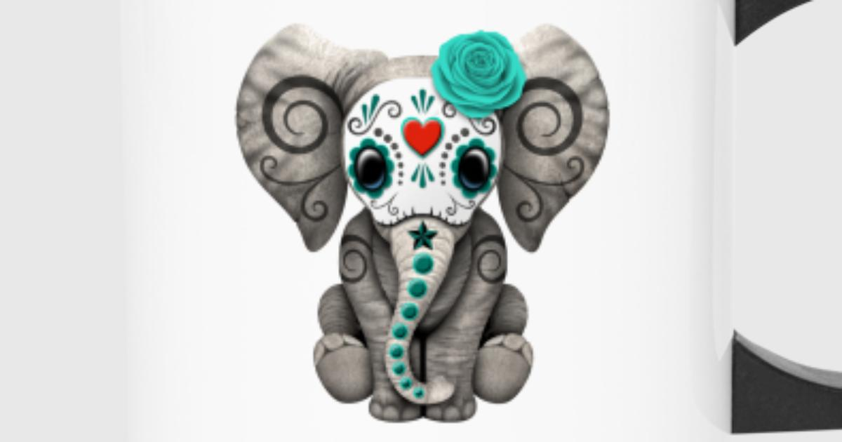 Blue Sugar Skull Elephant by UniqueArtDesign | Spreadshirt