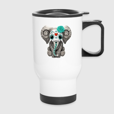Blue Sugar Skull Elephant - Travel Mug