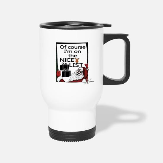 Christmas Carols Mugs & Drinkware - Christmas Design by Jeff Johnson - Travel Mug white