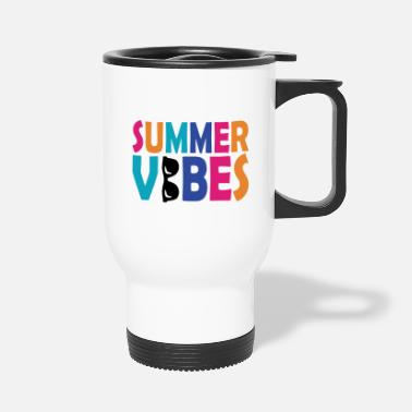 Palm Trees Summer vibes vacation sun gift beach beach - Travel Mug