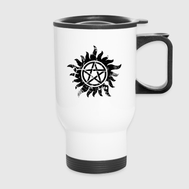 Anti-Posession Symbol Black (Cracked) - Travel Mug
