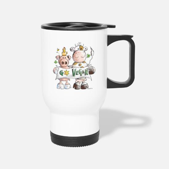 Vegan Mugs & Drinkware - Go Vegan - Veggie - Vegetable - Cartoon - Gift - Travel Mug white