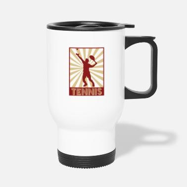 Tennis Match tennis tennisplayer match retro - Travel Mug