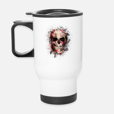 Darkness Gothic Skull Death Paint Splatter Art - Travel Mug