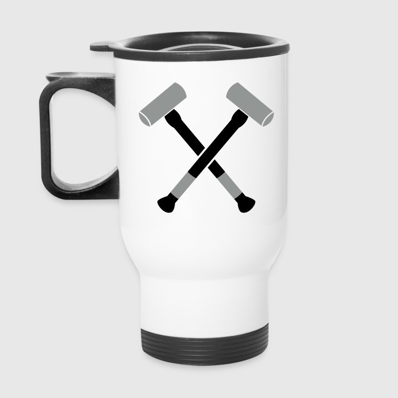 double crossed crossbones two sledgehammer hammers - Travel Mug
