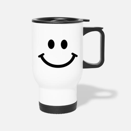 Face Mugs & Drinkware - Happy Smiley Face - Travel Mug white