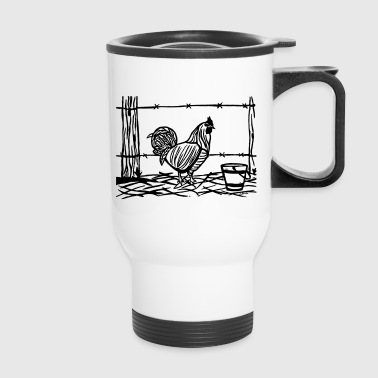 Rooster Blockprint - Travel Mug
