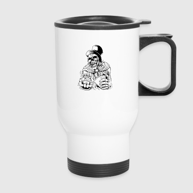 skull_with_gambling_cards_black - Travel Mug