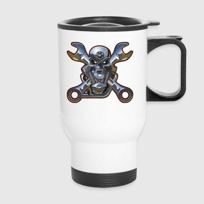 Metal Skull And Wrenches - Travel Mug