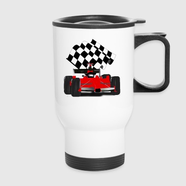 Red Race Car with Checkered Flag - Travel Mug
