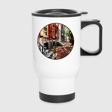 Philadelphia PA Street With Orange Shutters - Travel Mug