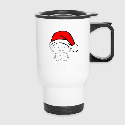 Santa with Geek and Mustache - Travel Mug