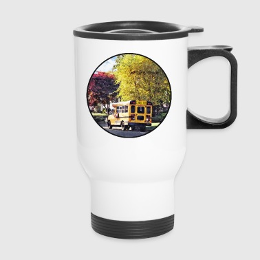 Parked School Bus In Autu - Travel Mug