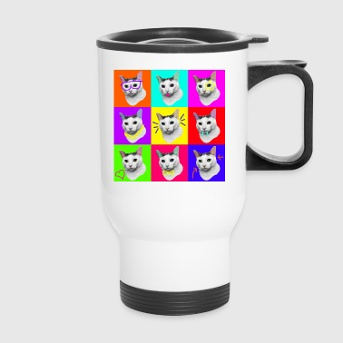 Cat Pop Art Nine Lives - Travel Mug
