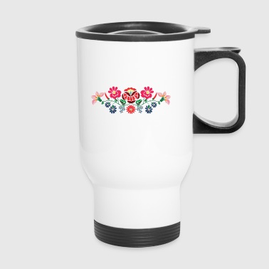 Hungarian folk motifs from kalocsa region - Travel Mug