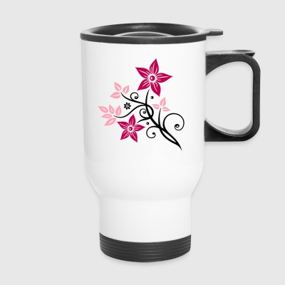 Beautiful, filigree flowers. Floral element. - Travel Mug
