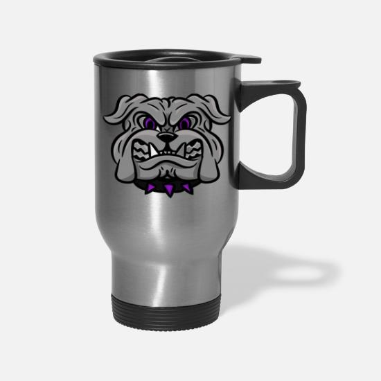 Sports Mugs & Drinkware - custom bulldog mascot gray - Travel Mug silver
