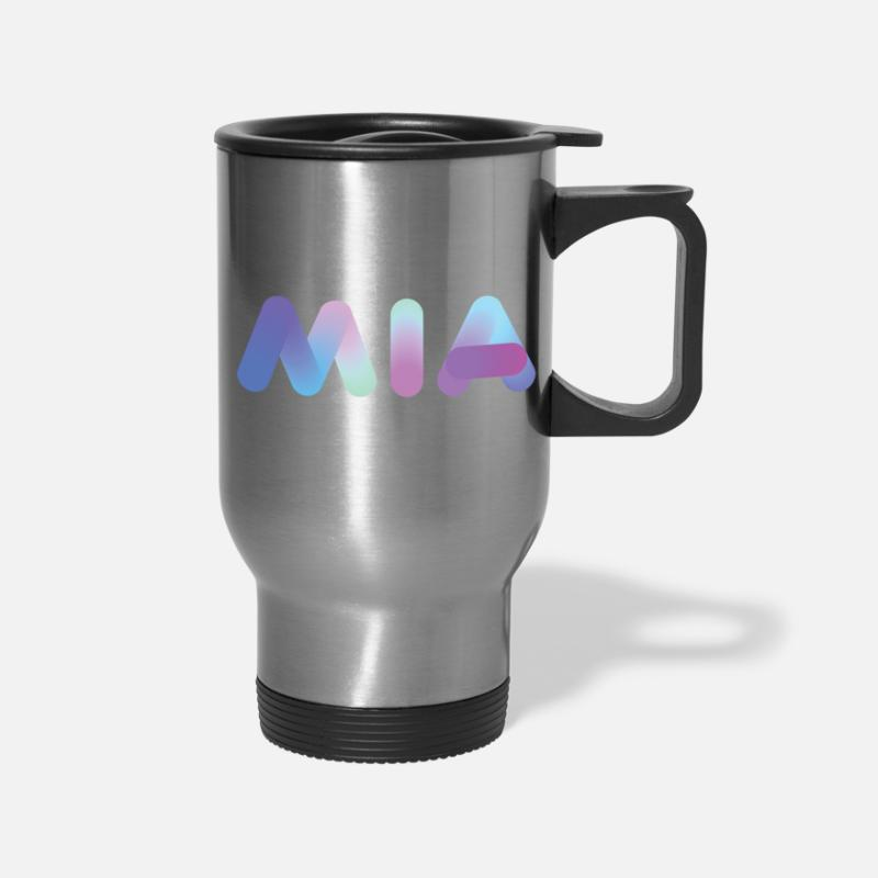 Gift Idea Mugs & Drinkware - Female Names | Blue Neon : Mia - Travel Mug silver