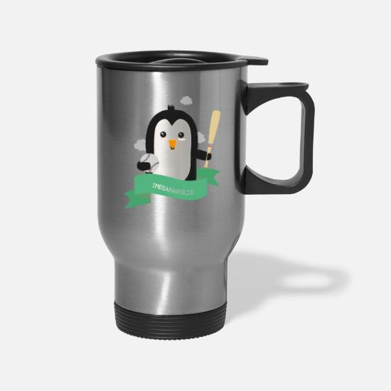 Penguin Mugs & Drinkware - Baseball Penguin from INDIANAPOLIS Gift - Travel Mug silver