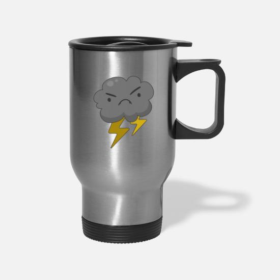 Severe Weather Mugs & Drinkware - Angry Cloud with Lightning Thunderstorm - Travel Mug silver