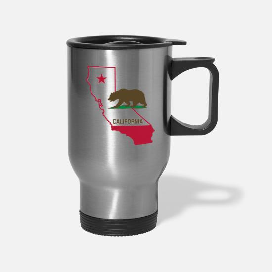 Home Mugs & Drinkware - CALIFORNIA STATE WITH STATE BEAR - Travel Mug silver