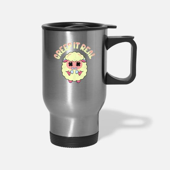 Funny Mugs & Drinkware - Cute & Funny Creep It Real Creepy Sheep Pun - Travel Mug silver