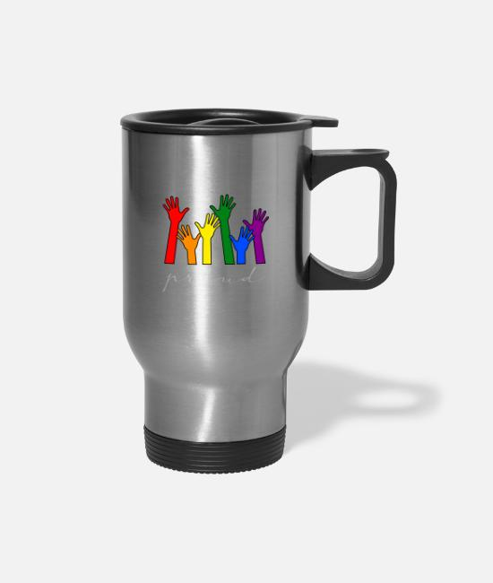Proud Mugs & Cups - Pride in being gay - Travel Mug silver